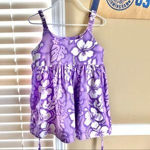Girl's Hawaii Flower Purple Summer Twirl Dress